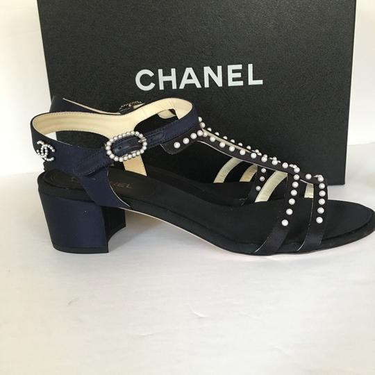 Chanel Pump Thong Pearl Size 38 Black Navy Sandals