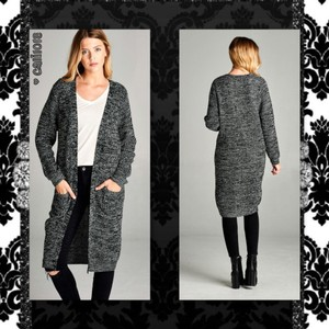 Maxi Midi Marbled Open Front Cardigan