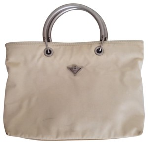 Bottega Veneta Nylon Italian Vintage Satchel in Bone