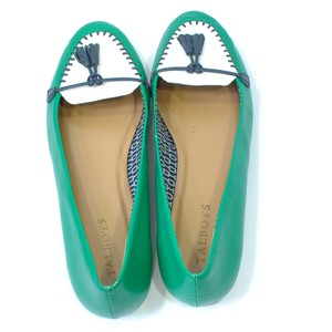 Talbots Leather And White Green Flats