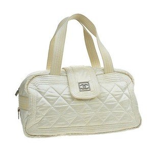Chanel Coco Pink Blue Satchel in Off white