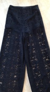 Endless Rose Lace Sheer Boy Short Wide Leg Pants Black