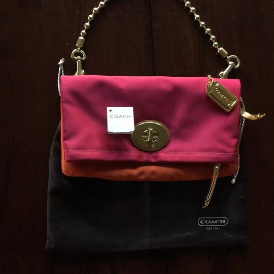 Coach Magenta and Tangerine Clutch
