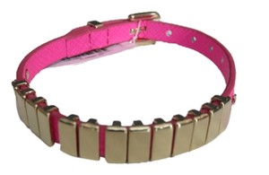 Michael Kors Nwt Michael Kors Hot Pink Leather Strap And Gold Tone Links Bracelet