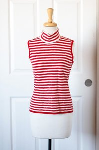 St. John Holiday Striped White Top Red