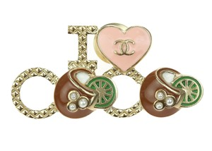 Chanel 17C Soft Gold Quilted Love Coco Brooch Pin