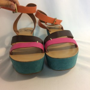 Lucky Brand Orange, pink, teal, brown Sandals