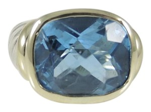 David Yurman David Yurman Sterling Silver 14K Gold Blue Topaz Noblesse Ring