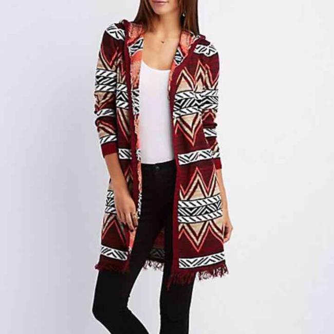 Preload https://img-static.tradesy.com/item/19999979/charlotte-russe-maroonmulti-hooded-cardigan-ponchocape-size-8-m-0-0-650-650.jpg