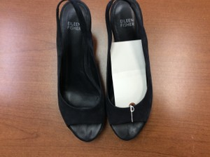 Eileen Fisher Chunky Heels Suede Open-toe Sling-back Sandals Black Mules