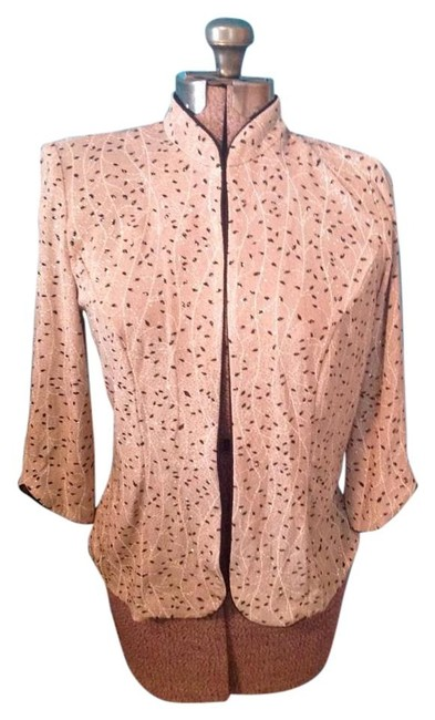 Alex Evenings Leaf Sparkle Spandex Shoulder Pads Jacket