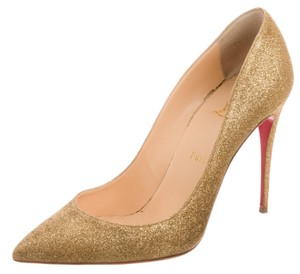 Christian Louboutin Glitter Hardware Pointed Toe Pigalle Pigalle Follies Gold Pumps