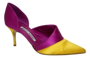 Manolo Blahnik Designer Pink Pink, Yellow Pumps