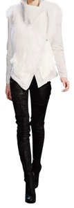 Helmut Lang Leather Fur Shearling Moto off-white / cream Leather Jacket