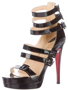 Christian Louboutin Patent Leather Strappy Marieniere Ankle Strap Platform Black Sandals