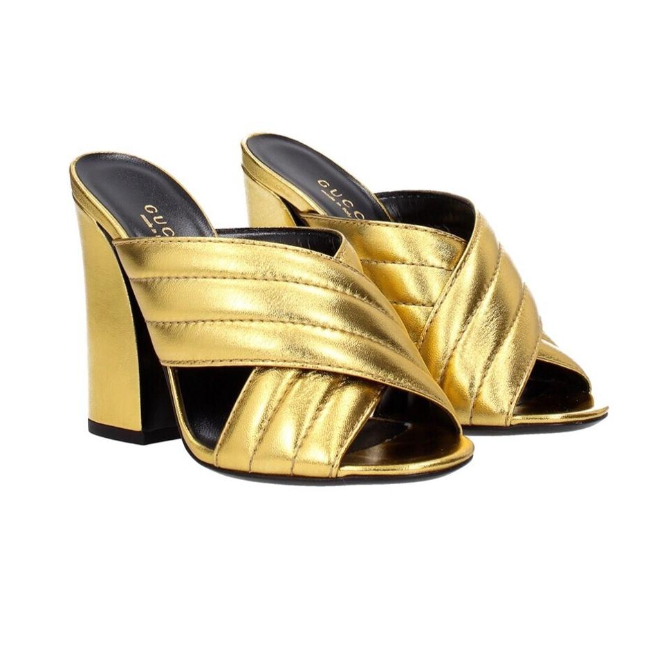 774538103 Gucci Webby Gold Crossover Mules/Slides Size US 8.5 Narrow (Aa, N ...