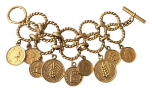 Chanel CHANEL RARE SEASON 25 VINTAGE 22k GOLD PLATED COIN CHARM BRACELET
