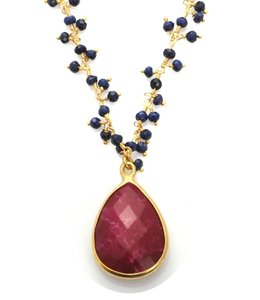 Sacred Jewels Sacred Jewels Ruby and Sapphire Vision Necklace
