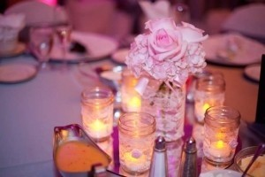 White/Pink Vintage Inspired Lace Mason Jars Centerpiece