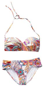 Anthropologie Huit Paisley Swimsuit Bandeau Top Sz 36B Bottoms Sz S