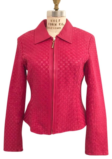 Preload https://item1.tradesy.com/images/st-john-red-and-suede-woven-leather-jacket-size-8-m-20000475-0-1.jpg?width=400&height=650