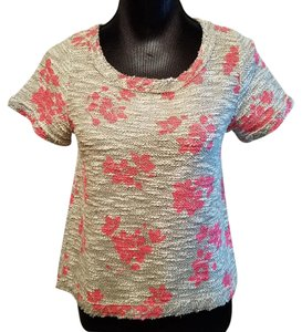 Anthropologie Anthro Sweater Top Black, white and flourescent pink