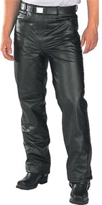 Xelement Leather Classic Biker Motorcycle Relaxed Pants Black