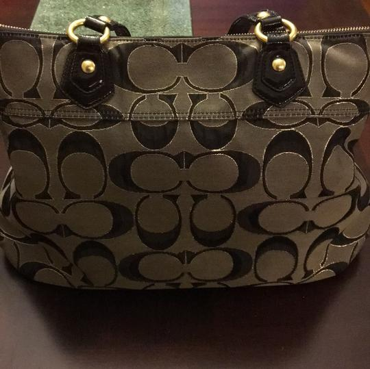 Coach Tote in Gray/Black with Gold Trim