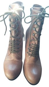 Vince Camuto Lace Up Wedge Bootie Leather Brown Boots