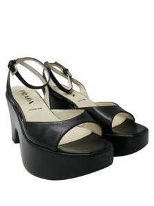 Prada Wedges Black Sandals