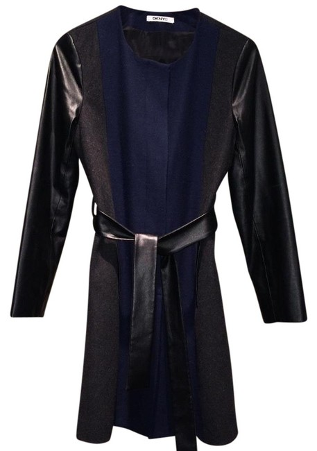 Preload https://img-static.tradesy.com/item/20000751/dkny-navy-and-gray-leather-wool-classic-trench-coat-size-6-s-0-1-650-650.jpg