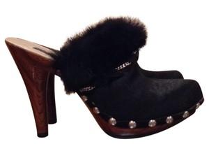 Nina Pony Fur Black Mules