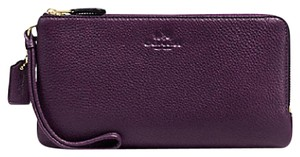Coach NEW COACH double zip Ieather Phone+ Wallet Wristlet 54056 AUBERGINE