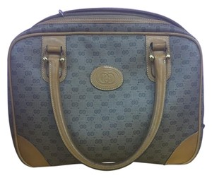 Gucci Monogram Canvas Leather Satchel in tan