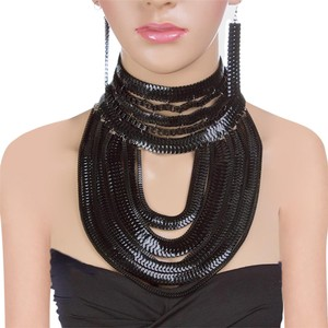 Black Metal Snake Chain Choker Bib Necklace