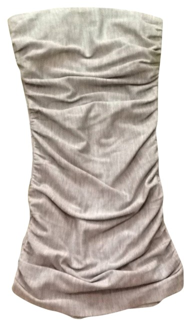 Halston Form Fitting Strapless Grey Shirred Dress