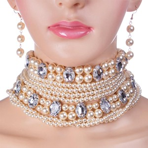 Other All Rhinestone Crystal Accent Pearl Choker Necklace Set 2016 Trend