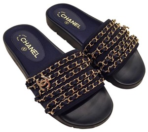Chanel Chain Classic Icon Slides blue Sandals