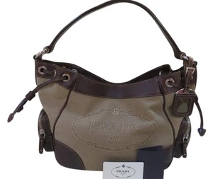 Prada Leather Canvas Jacquard Hobo Bag