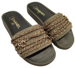 Chanel Chain Classic Icon Slides green Sandals