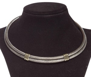 David Yurman Twisted Sterling Silzer 14k Gold Detail Choker