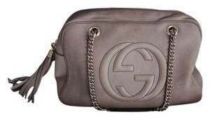 Gucci Suede Mauve Taupe Soho Shoulder Bag