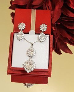 Luxury Bridal Silver Filled Necklace Set