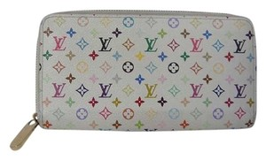 Louis Vuitton Auth Louis Vuitton Zippy White Multicolore Monogram Canvas Clutch