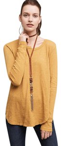 Anthropologie Scoop Tea Seamed Tea Dark Yellow Pullover Styling T Shirt