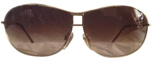 BVLGARI Aviator style gold frame with graduate shade brown lenses.