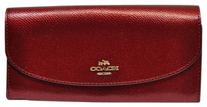 Coach NEW COACH Envelope Wallet Metallic shimmer Leather coins phone pockets