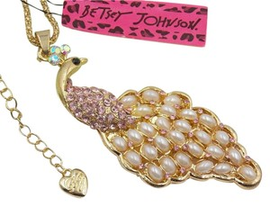 Betsey Johnson Betsey Johnson Pearl Peacock Necklace Gold Tone j2998