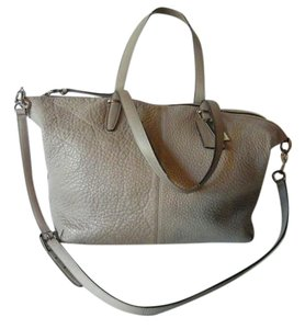 Coach Pebbled Leather Adjustable Satchel in Silver/Grey Birch
