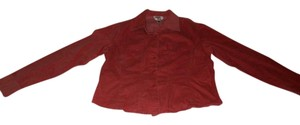 Talbots Corduroy Stretchy Long Sleeve Button Down Shirt Coral